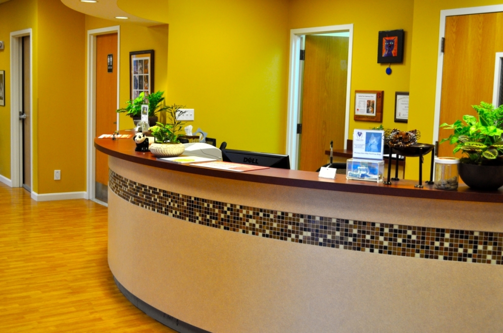veterinary reception desks   roswell vet front of